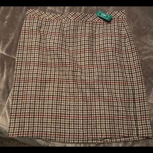 L. L. Bean Eastport Skirt - Houndstooth SZ 16 NWT